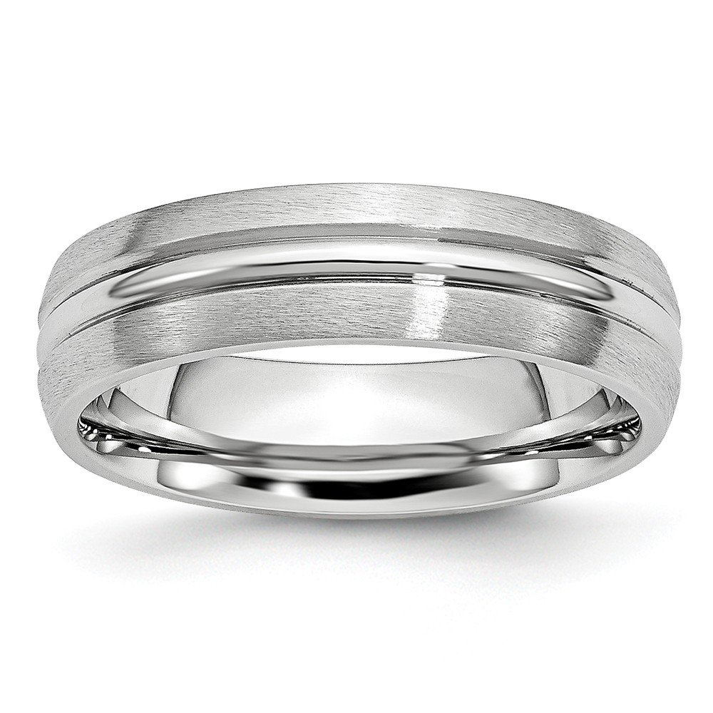 Cobalt Satin and Polished Grooved 6mm Band- Size 10.5