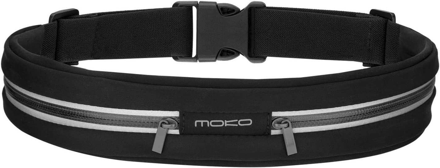 MoKo Sports Running Belt, Outdoor Dual Pouch Sweatproof Reflective Waist Pack, Fitness Workout Belt Fanny Pack Compatible with iPhone 11 11 Pro Max X Xr Xs Max 8 7, Galaxy Note 10 10 Plus, S10e S10