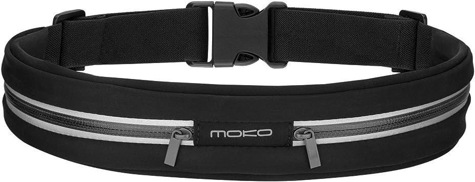 MoKo Riñoneras Belt Universal, Deportivo Cinturón de Correr con Cremallera y Prueba de sudor para Ejercicios,