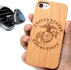 """iProductsUS Military Phone Case Compatible with iPhone SE (2020), iPhone 8 7 6/6S and Magnetic Mount, Wood Cases Engraved US Marines, Built-in Metal Plate, TPU Rubber Protective Covers (4.7"""")"""