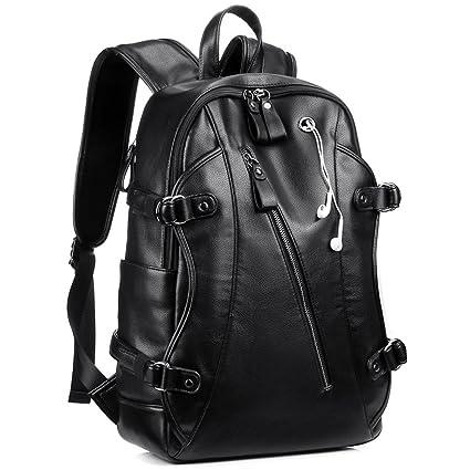 Mochila de cuero para portátil, mochila para hombres, mochila multifunción mochilas de 15.6 pulgadas