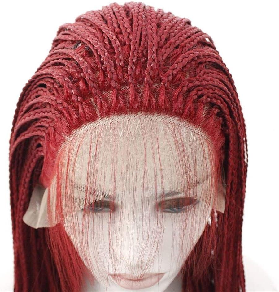 ShanShan Mu Perruque européenne et haute température bordeaux à trois tresses (couleur : 61 cm) 61 cm.