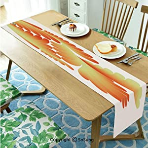"Aquarium Table runner for Farmhouse Dining Coffee Table Decorative,Fantasy Design Figure with Stylized Scales Artistic Abstract Goldfish Decorative 13""x48"" Polyester linen Tea Table Runner,Orange Ligh"