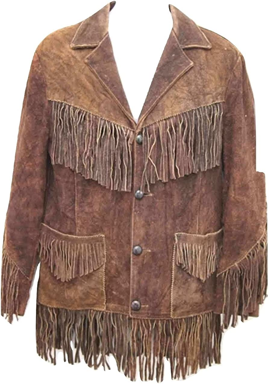 Bestzo Men/'s Fashion Western Indian Cow Suede Jacket with Fringes on Front /& Back Brown XS-5XL