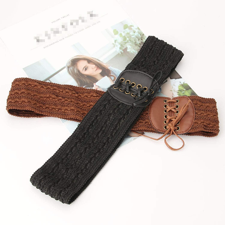 PPX 2 Pezzi Cintura di Largo Elastica da Donna in Regolabile Cintura Nero e Marrone