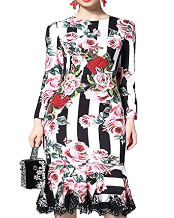 Roiii 2018 Spring Vintage Elegant Women Dress Floral Print Bodycon Trumpet Mermaid Long Sleeve Dresses Party