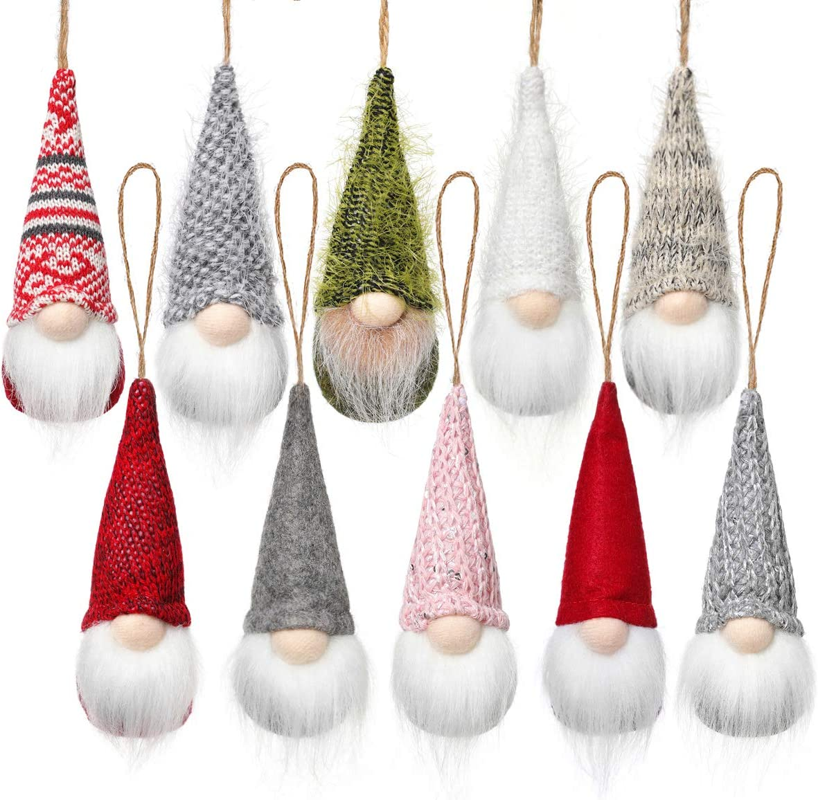 Christmas Tree Hanging Gnomes Ornaments Set Of 10 Swedish Handmade Plush Gnomes Santa Elf Hanging Home Decorations Holiday Decor Amazon Ca Home Kitchen