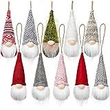 Christmas Tree Hanging Gnomes Ornaments Set of 10, Swedish Handmade Plush Gnomes Santa Elf Hanging Home Decorations…