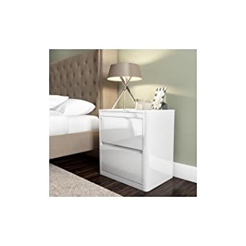 lexi white high gloss bedside table 2 drawers modern design