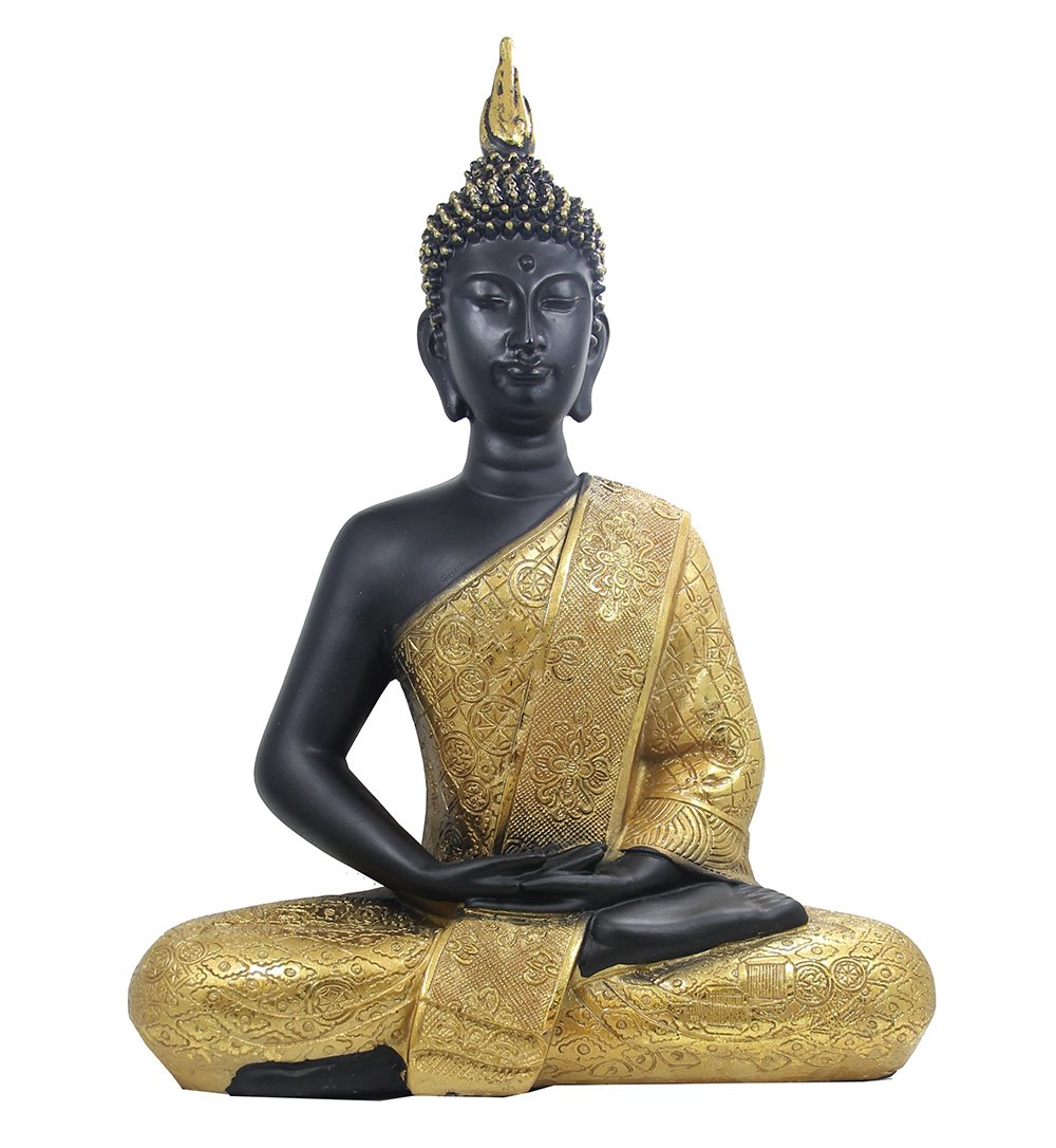 DharmaObejcts Golden 11.5 Inches Thai Buddha Meditating Peace Harmony Statue by Dharmaobjects