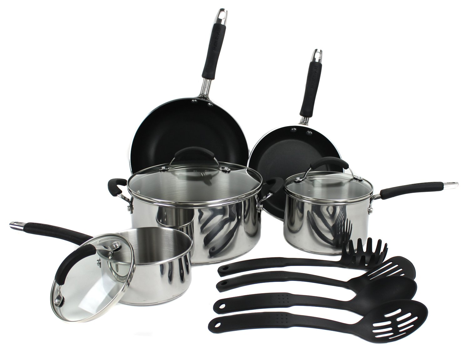 Amazon.com: Farberware 12-Piece Non-Stick Cookware Set, Stainless ...