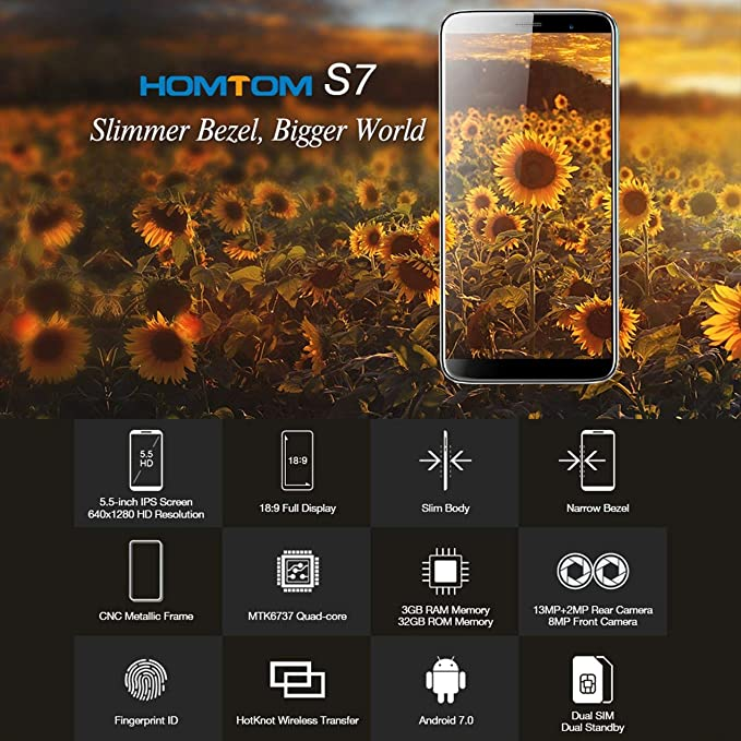 HOMTOM 5.5inch S7 Smartphone 3 GB + 32 GB Ouad Core para Android 7.0 teléfono Enchufe de la UE: Amazon.es: Electrónica