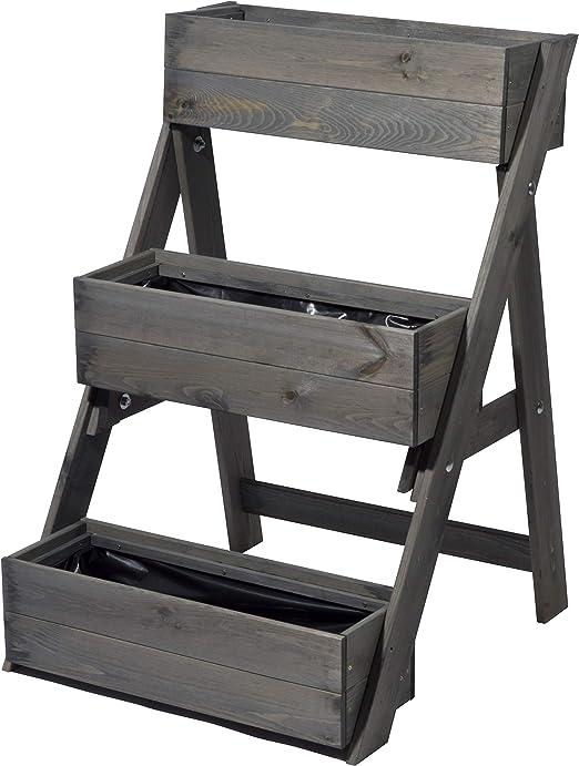 dobar - Escalera para macetas (3 escalones, Incluye lámina para Plantas, 60 x 70 x 90 cm, Madera de Pino), Gris: Amazon.es: Jardín