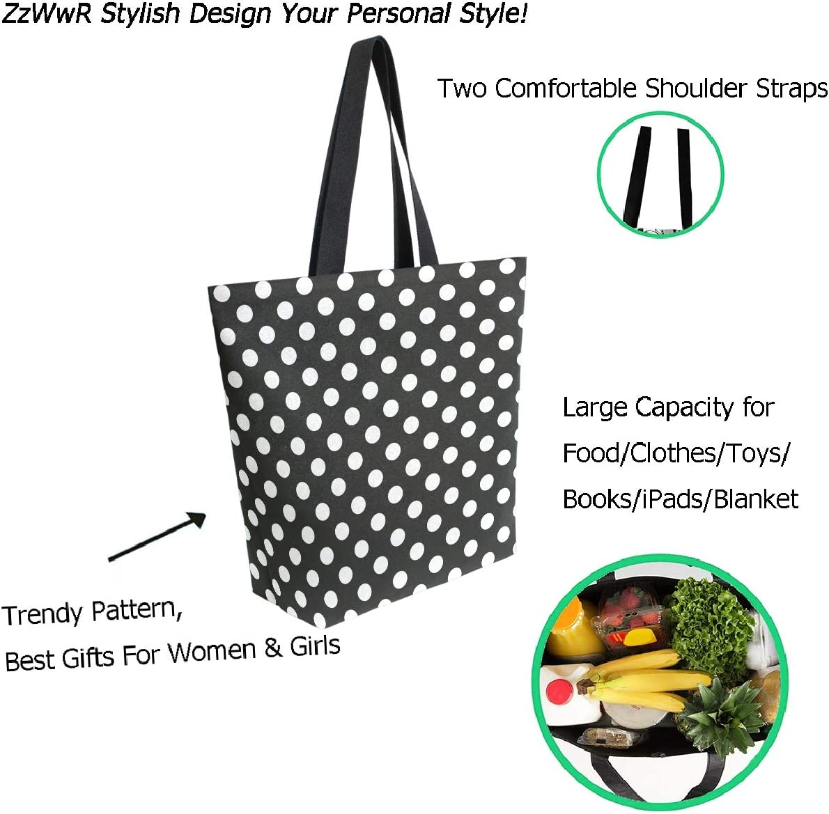 ZzWwR Stylish Bats Halloween Pattern Extra Large Canvas Market Beach Travel Reusable Grocery Shopping Tote Bag Portable Storage HandBags,Black