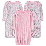 Wan-A-Beez Baby Boys' and Girls' 3 Pack Printed Baby Gowns (0-6 Months, Floral/Leopard)
