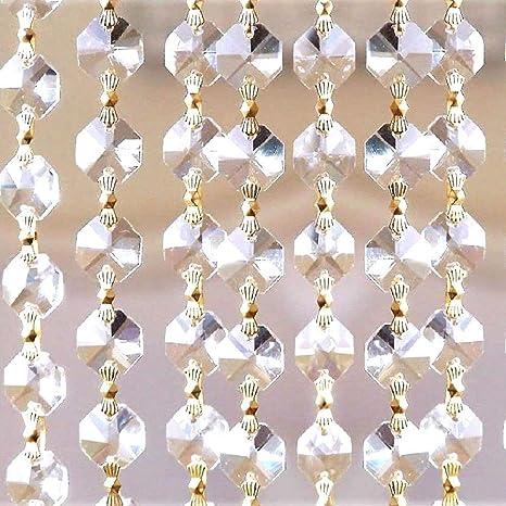 1 Meter-14mm Gold Clear Crystal Garland Octagon Cut Crystal Chain CCI
