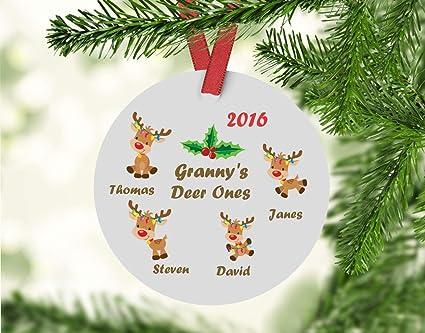 Dozili Grannys Deer Ones Ornament Custom Grandchildren Christmas Ornament Gift For Grandma Grandma Christmas Ornament Grandparent