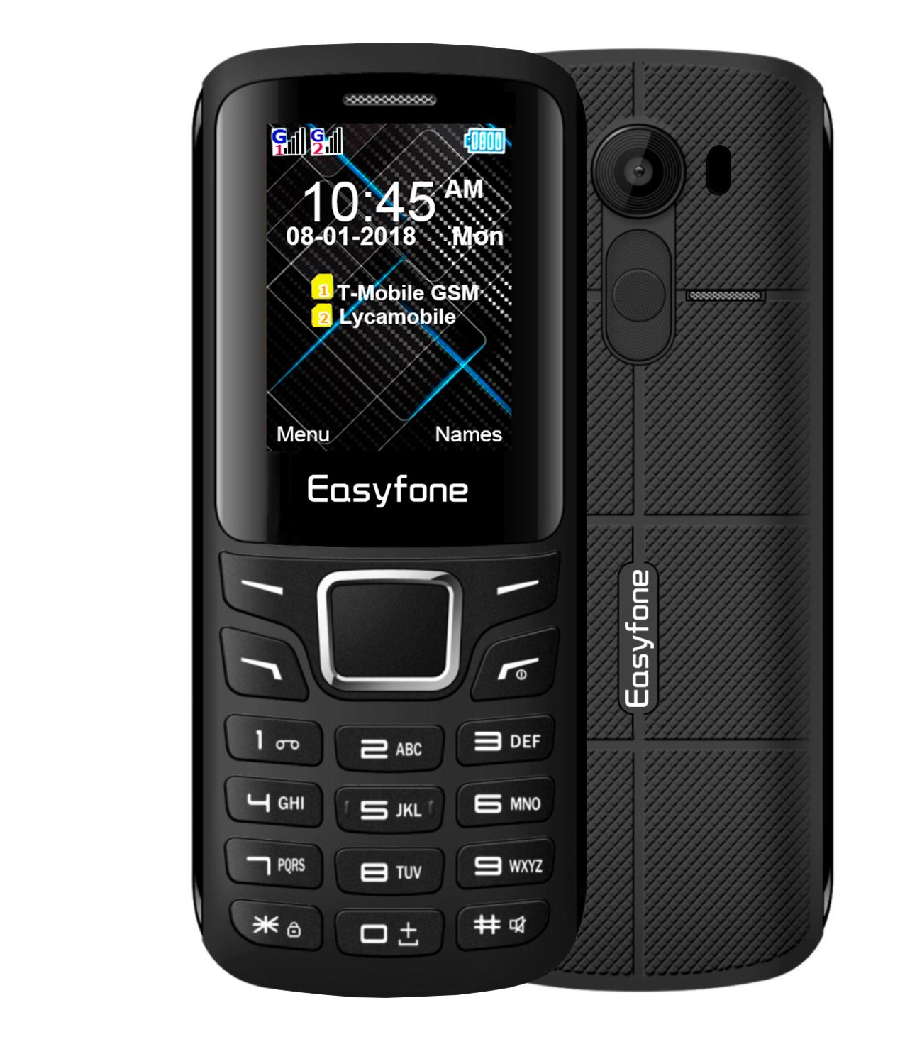 Easyfone Joy-X Dual-SIM Unlocked GSM Cell Phone, VGA-Camera with Color Screen and High-intensity Curved TP Glass, SIM-Free GSM Quad-Bands Worldwide Cell Phone with Bluetooth and MicroSD Card Slot