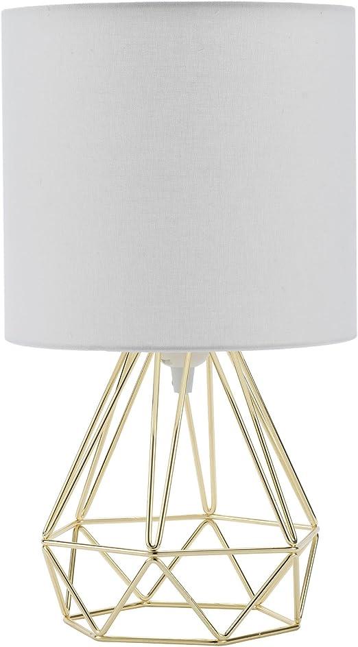 CO-Z Diamant Tischleuchte Tischlampe Leselicht Nachttischlampe Vintage Diamond Table Lamp im K/örbchenstil mit wei/ßem Stoffschirm Rosa