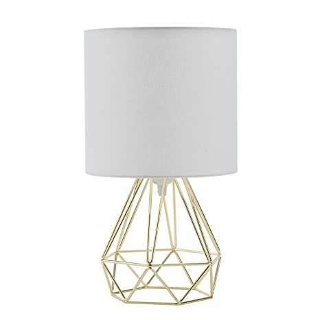 CO-Z Lámpara de Mesilla para Dormitorio Moderno Lámpara de Mesa de Cabecera Diamante de la Vendimia Jaula con Pantalla de Tela Blanca (Dorado)