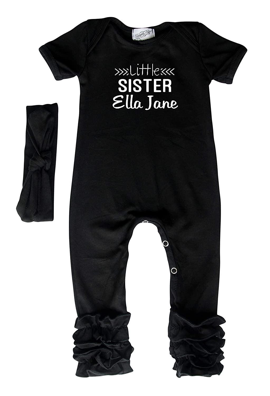 Personalized Little Sister Baby Romper and Bodysuit