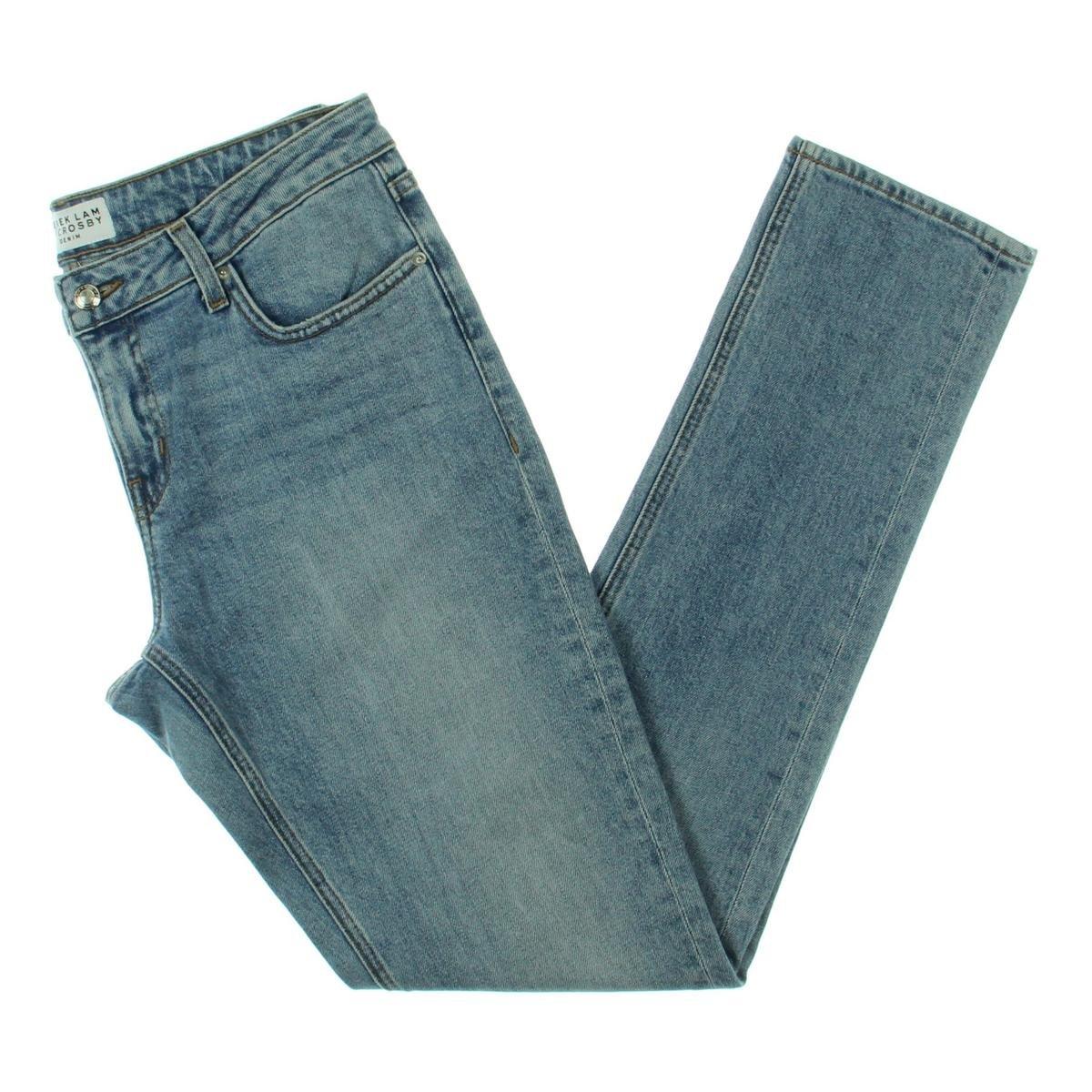 Derek Lam 10 Crosby Womens Mila Mid Rise Light Wash Girlfriend Jeans Blue 25
