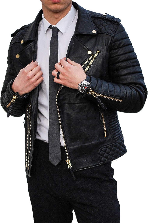 Mens Leather Jackets Motorcycle Bomber Biker Genuine Lambskin 01
