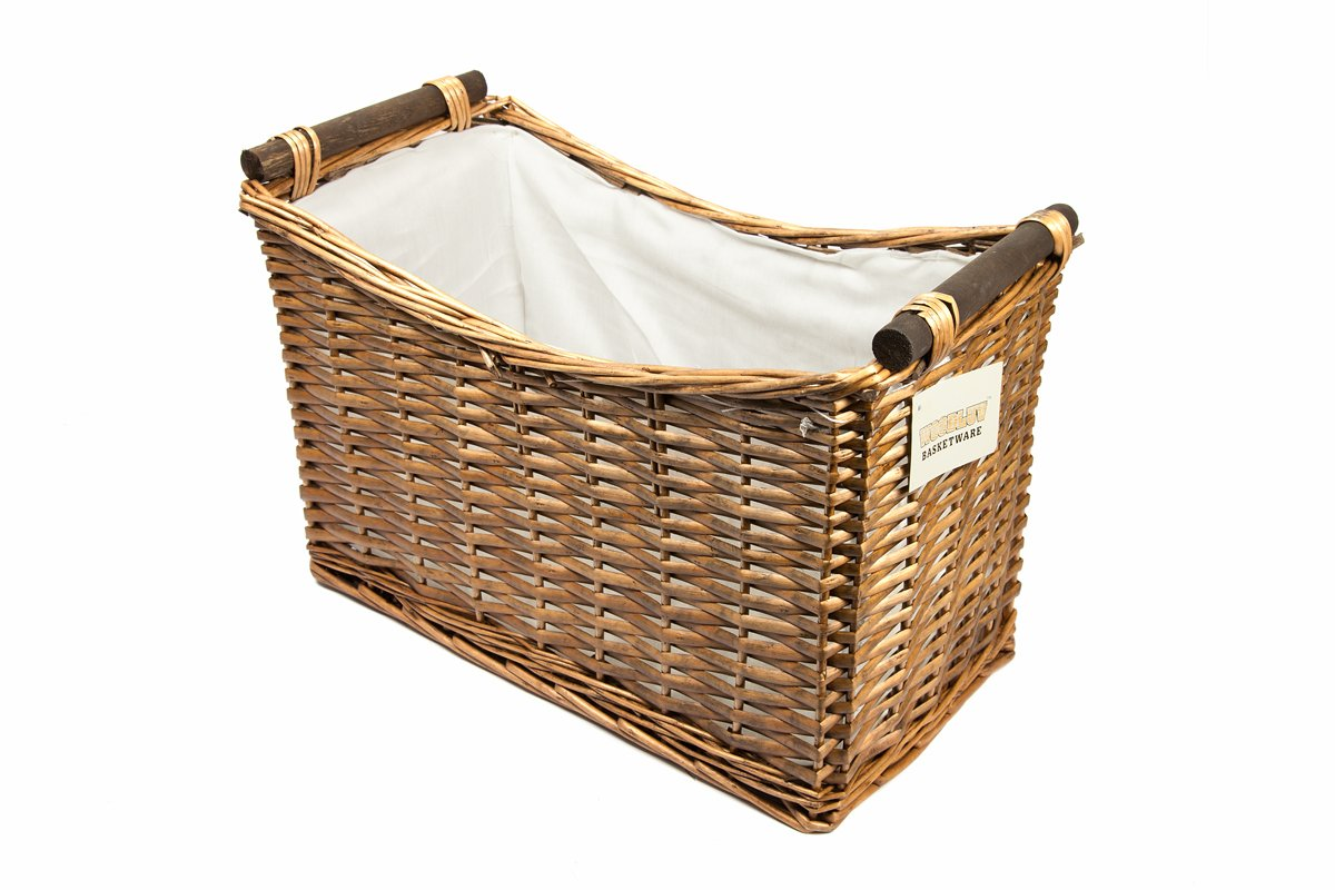 woodluv Wicker Magazine Newspaper Storage Rack Holder Basket Box with White Lining, Set of 2, Brown Elitehousewares E01-599