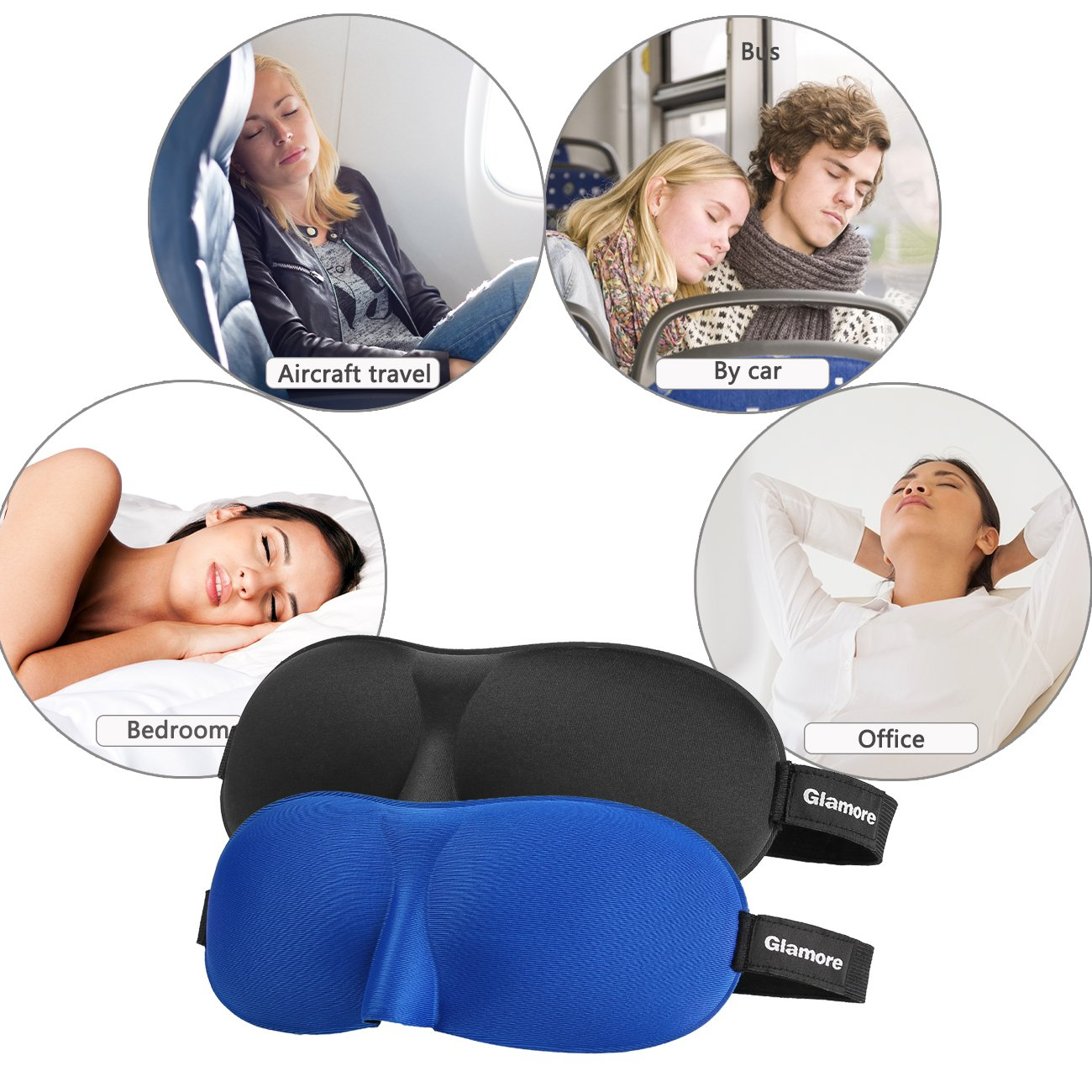Sleep Mask, Glamore Pack of 2 Eye Mask for Sleeping Lightweight Super Soft Adjustable 3D Contoured Compact for Travel, Shift Work, Naps, Night Eyeshades Blinder for Men and Women