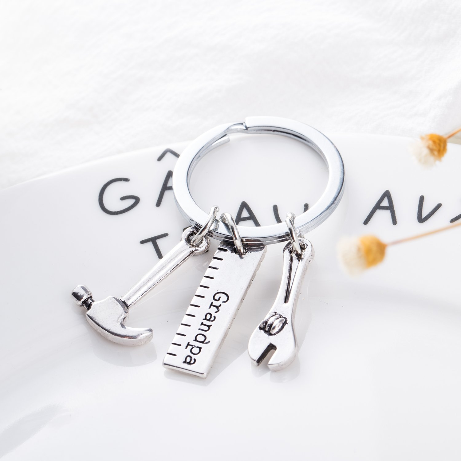 Fathers Day Gift ELOI Dad Keychain,Christmas Gift,Hammer Wrench Keyring Grandpa Christmas Gift from daughter or Son