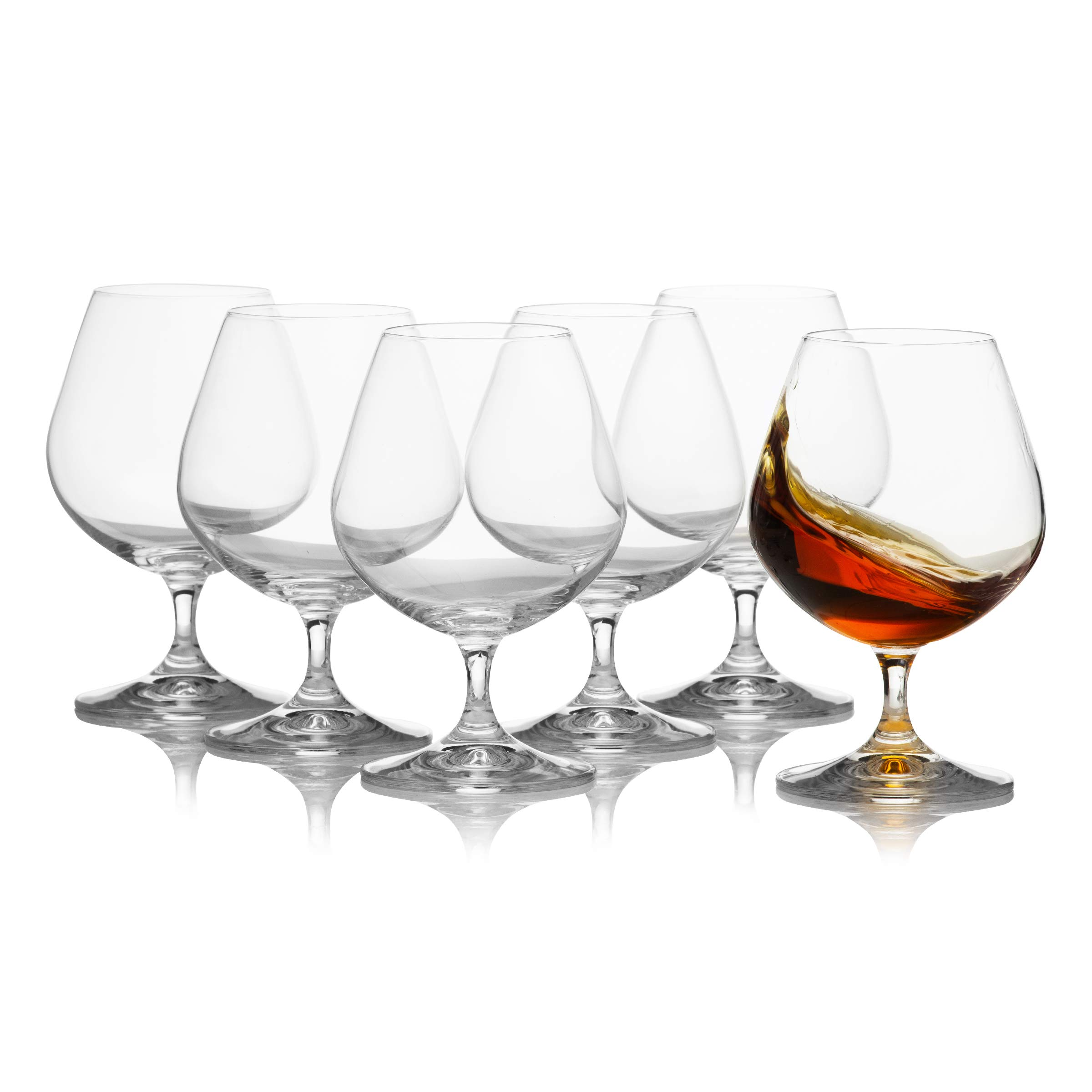Crystal Brandy and Cognac Snifter Glasses Set of 6 / Elegant and Durable Bohemian Glass  /  13.5 Ounces / 400 Milliliters