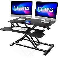 "FITUEYES Height Adjustable Standing Desk 32""/80cm Wide Sit Stand Desk Converter Tabletop Workstation with Large Keyboard…"