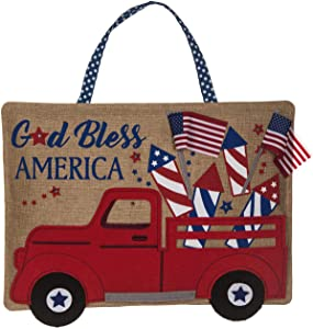 Evergreen Flag Truckload of Fireworks Lit Burlap Door Decor