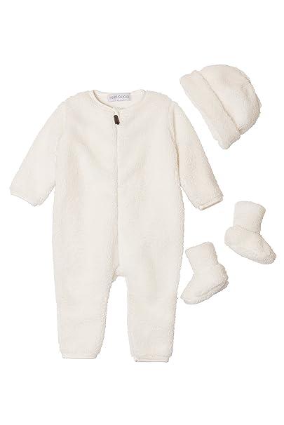 Conjunto bebe - Pelele, gorro y zapatos - Peluche crudo - de Prematuro a 6