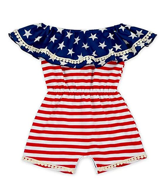 efafa84eb4e0 Amazon.com  Baby Girls American Flag Stripe Star Print One Piece Romper  Ruffle Off-Shoulder Onesies Bodysuit  Clothing