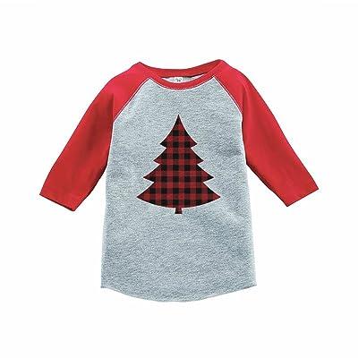 7 ate 9 Apparel Kids Plaid Tree Christmas Red Raglan Tee