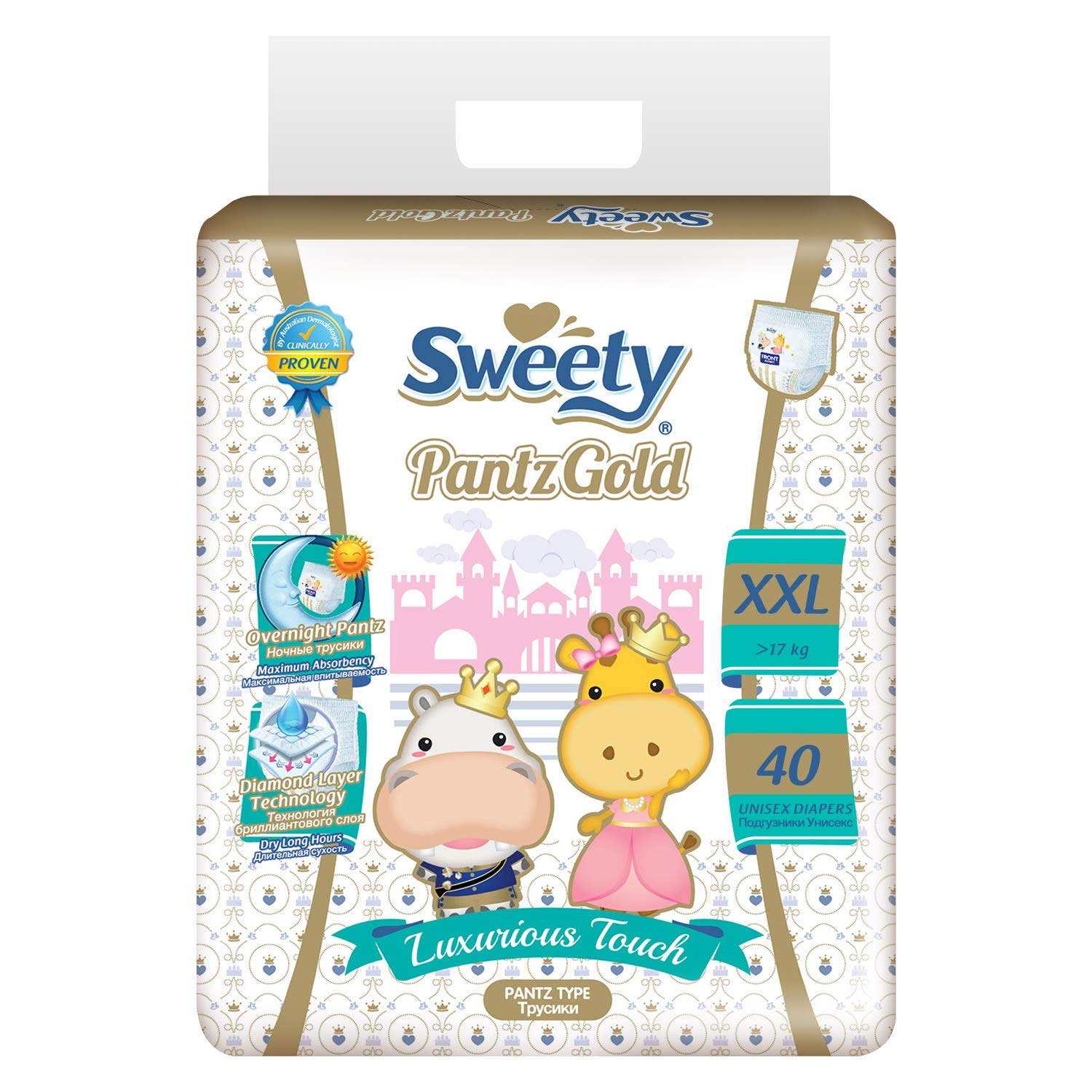 Sweety Fit Pantz Gold Series Baby XX-Large Diapers, Super