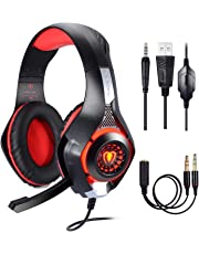 Samoleus Cascos Gaming PS4 PC Xbox One, Cascos Gamer, Gaming Auriculares con Microfono, Headset Cascos con Jack 3.5mm con Switch, Playstation 4,Laptop,Tablet, Móvil (Red)