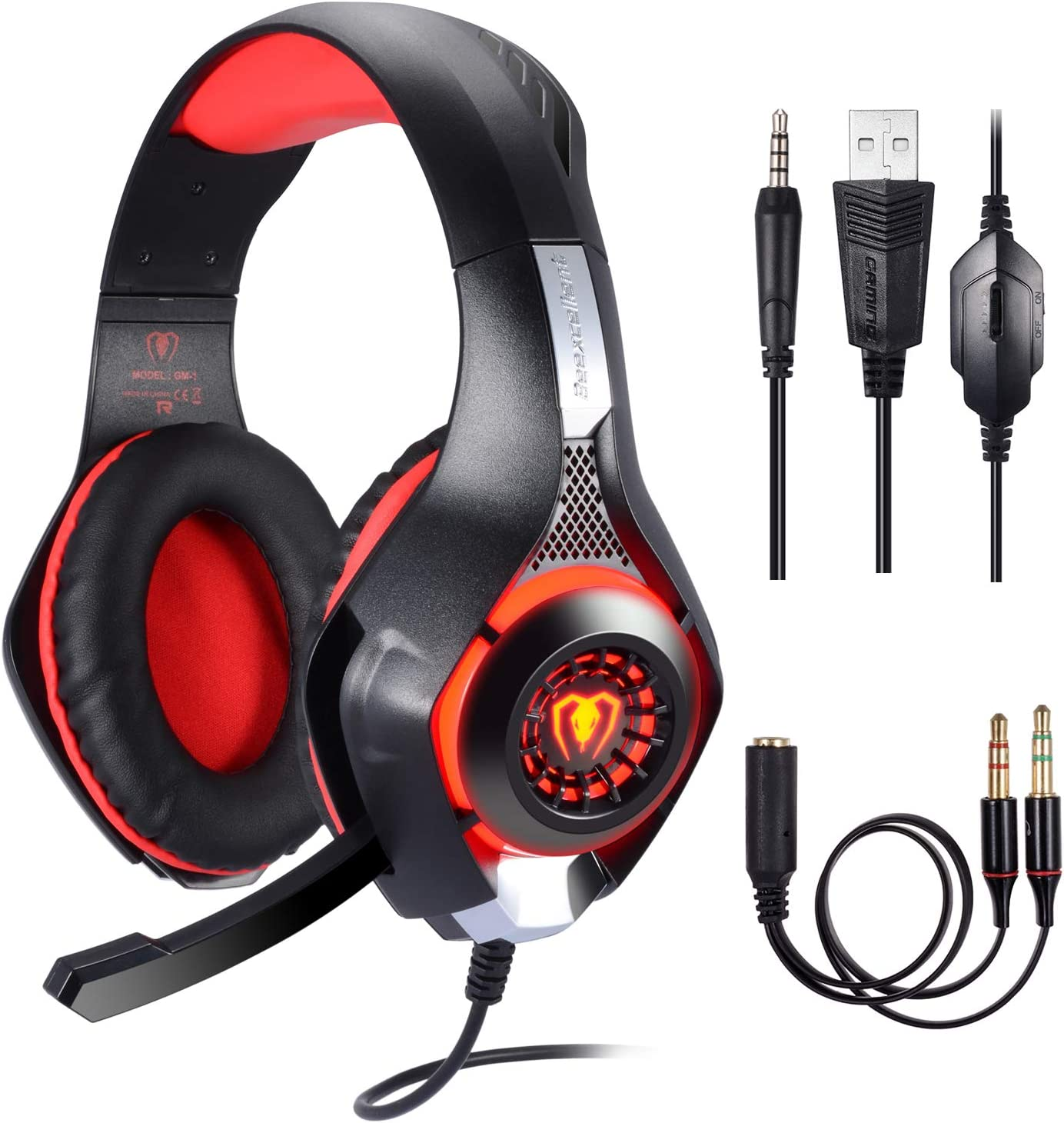 BlueFire Stereo Gaming Headset for Playstation 4 PS4, Over-Ear Headphones with Mic and LED Lights for Xbox One, PC, Laptop Red