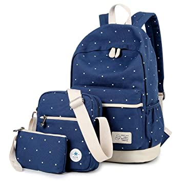 MORGLOVE Polka Dot Rucksack School Bag Canvas for Women s and Teenage Girls  Laptop Backpack Messenger Bag b02415d8719a8