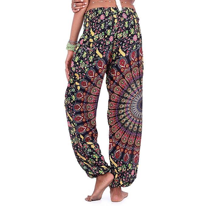 LANSKIRT Mujer Pantalones Hippies Pantalon de Yoga Sueltos ...