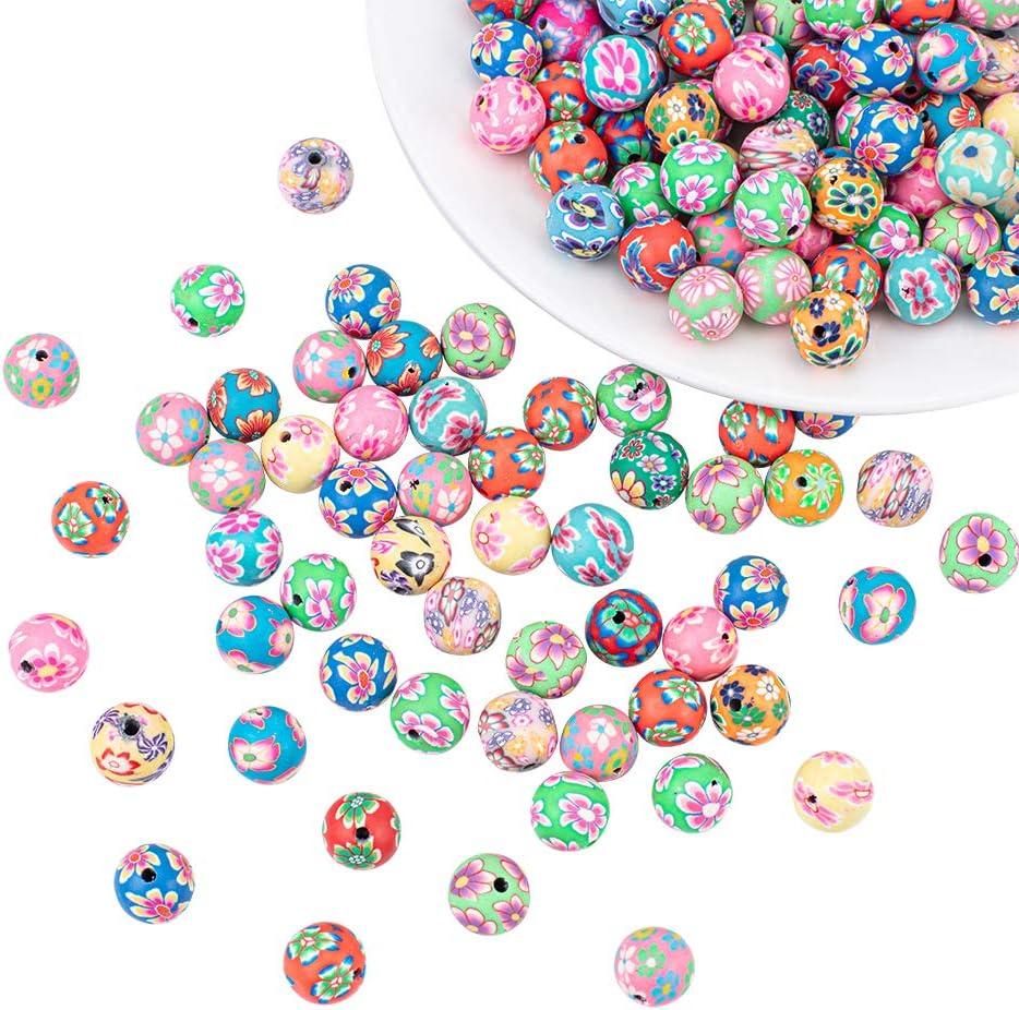 Handmade Polymer Clay Beads Round 18mm Flower Blue 6pcs