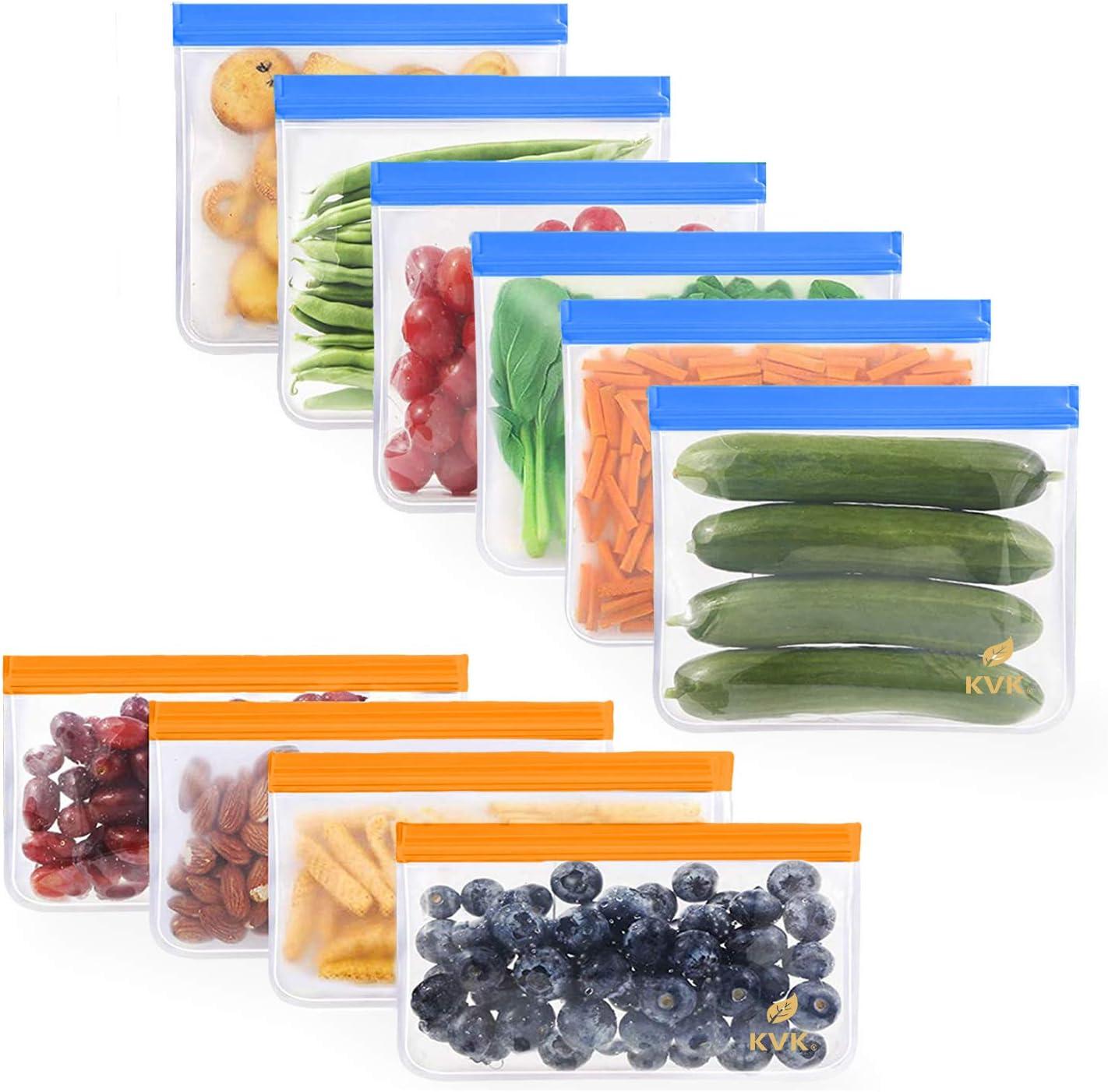 10 Pack Reusable Food Storage Bags, 6 Reusable Sandwich Bags + 4 Reusable Snack Bags, Food-Grade PEVA Reusable Ziplock Bags, Washable Leakproof Plastic - Free Lunch Bags