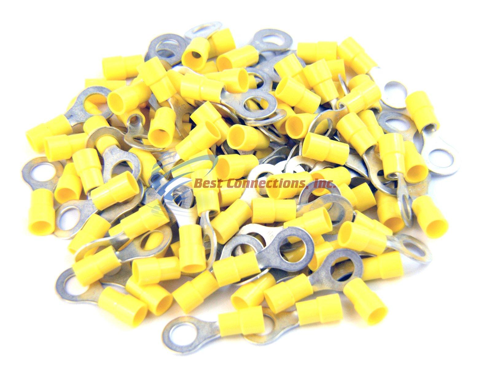 Yellow Vinyl Ring Terminal Connector 5/16'' 12-10 Gauge AWG 100 PCS Install Bay