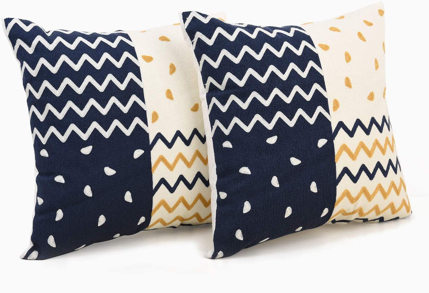 TEXPLUS Pack of 2 Decorative Geometric Pattern Square Embroidered Cotton Throw Cushion Covers (Blue & Golden Wave, 18Wx18L)