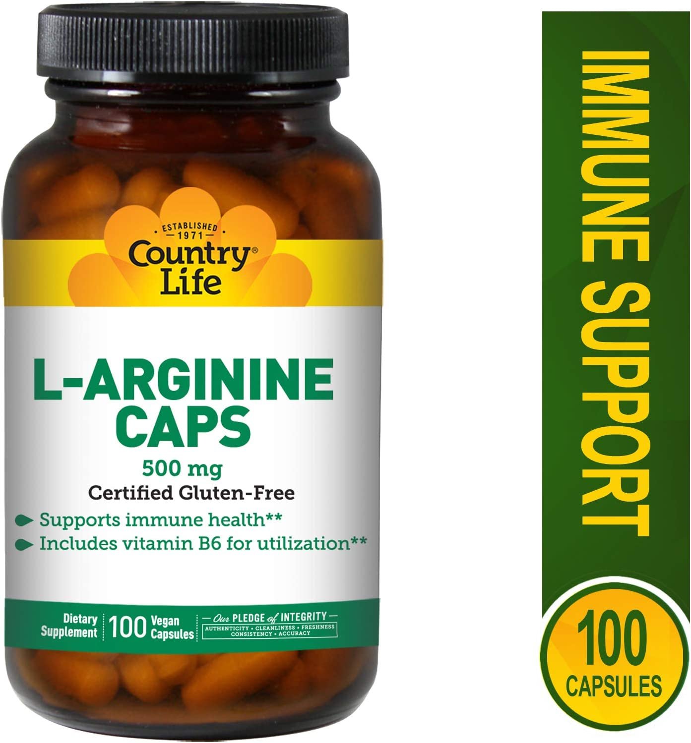 Country Life L-Arginine 500 mg with Vitamin B6 – 100 Vegetarian Capsules – May Help Support Immune Health – Aids Utilization – Gluten-Free
