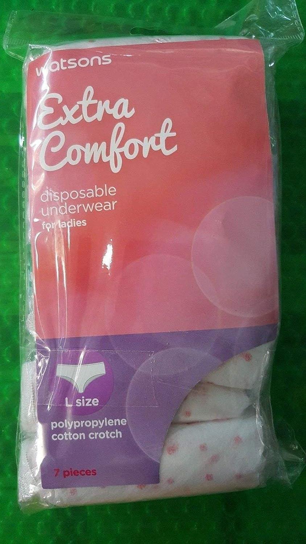 Watsons Extra Comfort Disposable Ladies Pants Underwear L size 7pcs 100/% Cotton