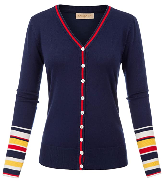 Ladies Colorful 1920s Sweaters and Cardigans History Kate Kasin Womens Long Sleeve Striped Snap Button Down Contrast Color V Neck Cardigans Sweater Coat $22.99 AT vintagedancer.com