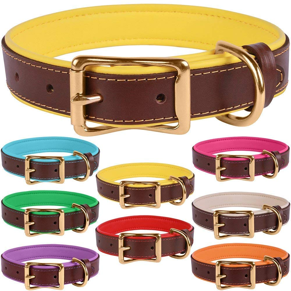 Brown Yellow Neck Size 14\ Brown Yellow Neck Size 14\ BronzeDog Leather Dog Collar Premium Soft Padded Heavy Duty Pet Collars for Dogs Small Medium Large Brown Pink bluee Red Green Purple Beige (Neck Size 14  16 , Brown Yellow)