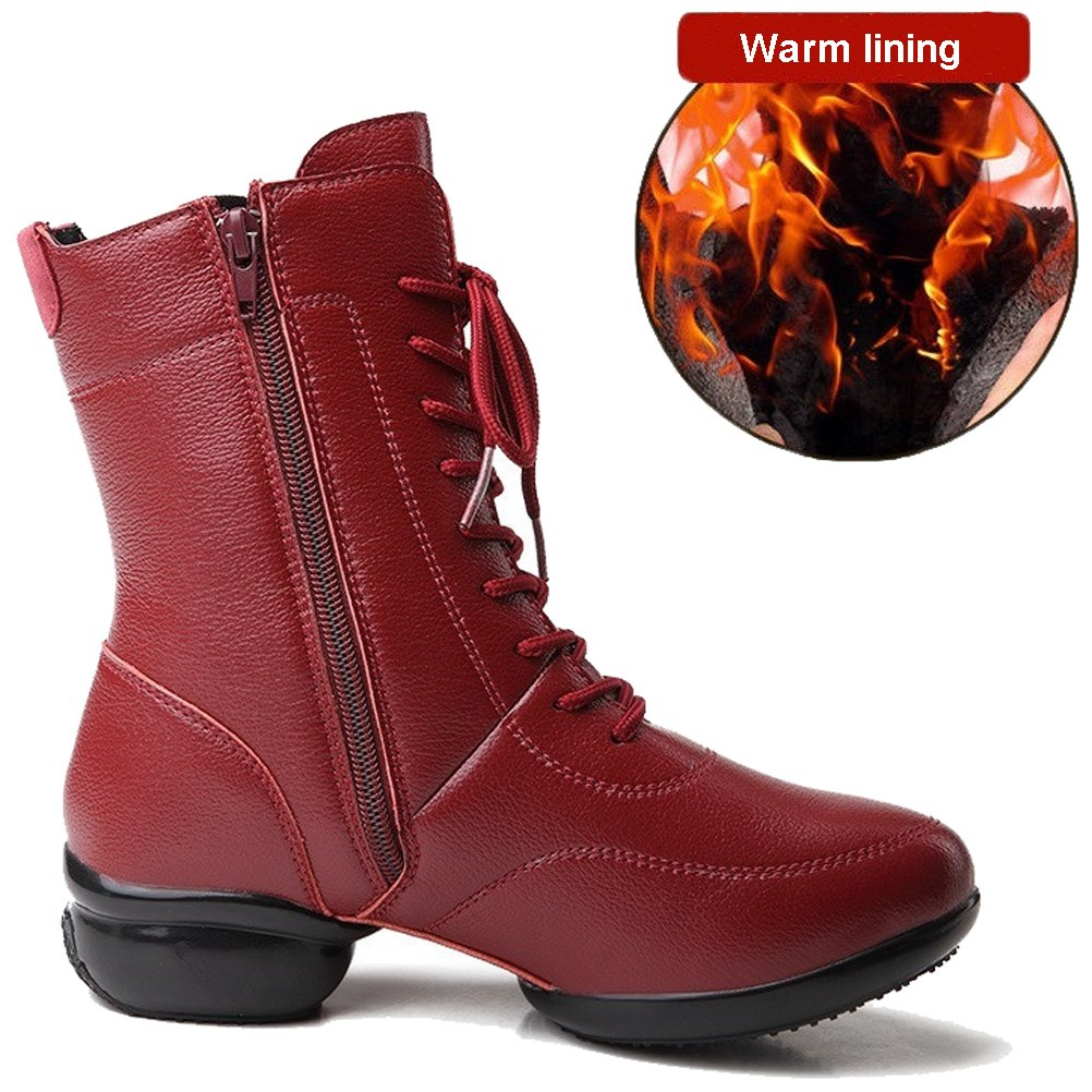 HiEase Women's Outdoor Waterproof Cowhide Leather Lace up Cross Trainers Shoes High Top Zipper Dancing Boots (9.5, Wine (Winter))